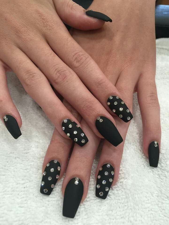matte nail designs matte black with rhinestones nails matte 13114