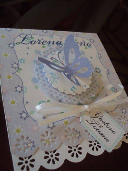 Lindíssimo convite com o tema festa das borboletas, lindo delicado, feito em todas as cores. R$ 4,00