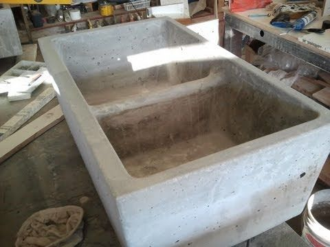 http://www.expressions-ltd.com Hold on to your lunch while seeing the Double Kitchen Sink Mold being used to make a concrete farm (vessel) sink with angled s...