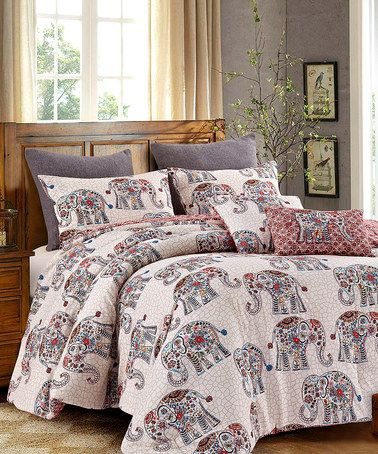 Love this Purple & Off-White Elephant Caravan Five-Piece Comforter Set by Hedaya Home Fashions on #zulily! #zulilyfinds