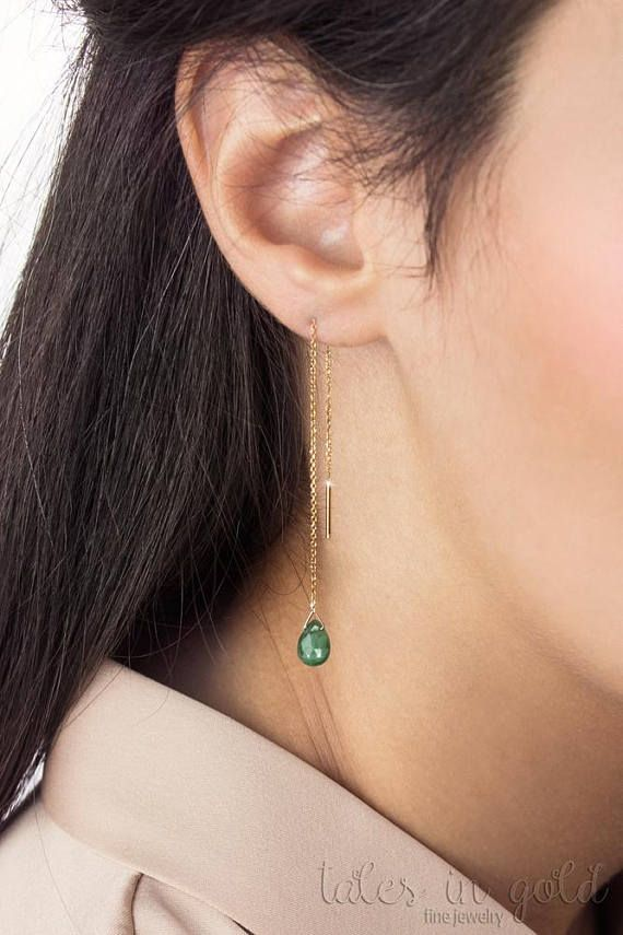 Emerald Earrings, May Birthstone Earrings, Emerald Gold Threaders, 14K Gold Earrings, Yellow Gold, Gold Chain Earrings, Green Earrings, Gemstone Earrings, 9K Gold Threaders   ★★★★★★★★★★★★★★★★★★★★★★★★★★★★★★★★★★   A threader gold pair of earrings with an emerald drop! Mays birthstone is believed to be a symbol of loyalty and peace. Known for its rich green color, it is associated with new beginnings. These gold earrings would make a beautiful birthstone gift for someone you love. Light and…