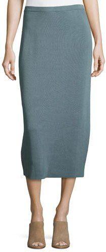 Eileen Fisher Washable Silk/Cotton Midi Pencil Skirt, Blue Steel, Petite