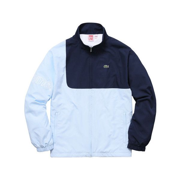 Supreme Supreme /LACOSTE Track Jacket ($198) ❤ liked on Polyvore featuring activewear, activewear jackets, lacoste sportswear and lacoste