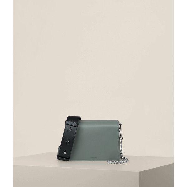 AllSaints Zep Lea Shoulder Bag ($278) ❤ liked on Polyvore featuring bags, handbags, shoulder bags, light slate blue, leather shoulder handbags, man shoulder bag, leather handbags, blue leather shoulder bag and pink shoulder bag