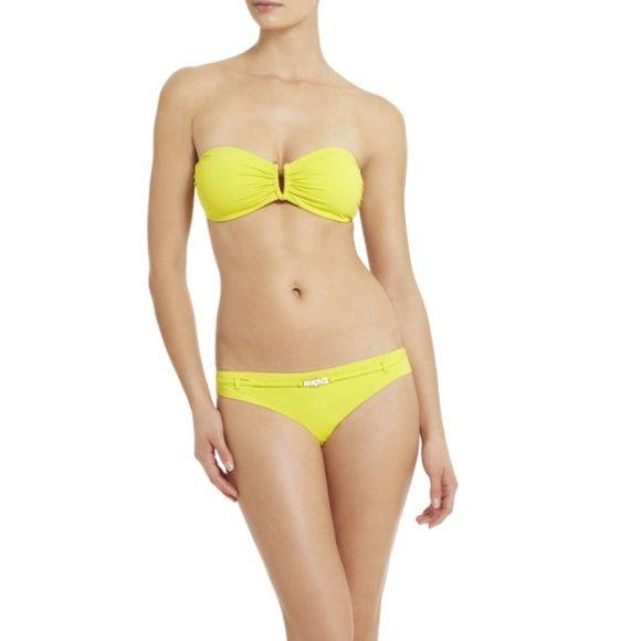 BCBG MaxAzria bikini top BCBG MaxAzria-. Color chartreuse (yellow) bandeau bikini top with removable straps. Original price: $80. Perfect for summer!! BCBGMaxAzria Swim Bikinis