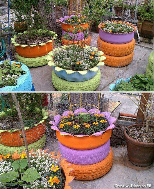 Raised beds from old tires the motor city pinterest for How to use old tires in a garden