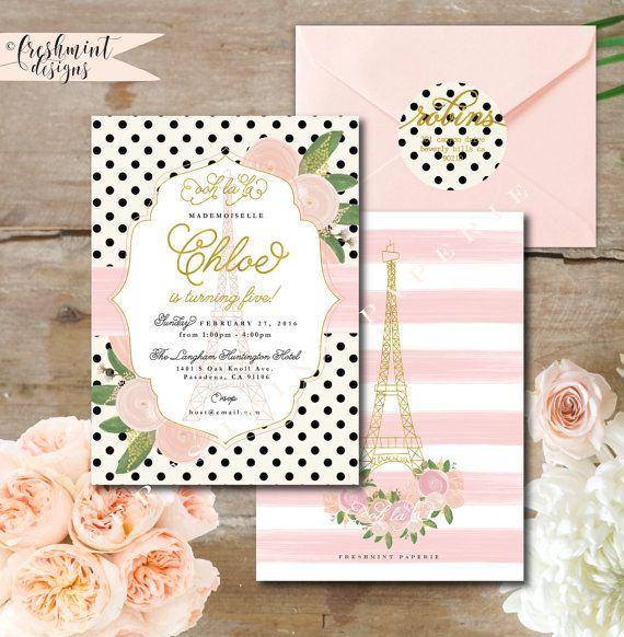 Printable invitations - french invitation - birthday invitation - parisian invitation - floral paris - freshmint paperie