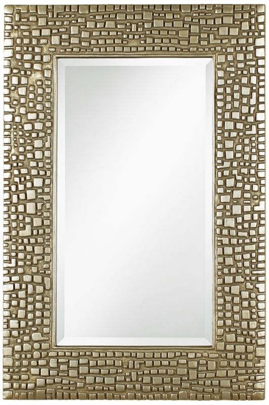 199 textured relief 14inch x 36inch champagne wall mirror