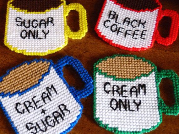 Plastic Canvas Coasters Drink Coffee Cup Sugar Cream Handmade Housewarming Gift