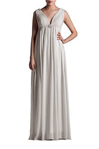 44ef5959abcb Pleated V Neck Empire Straps A-Line Long Chiffon Formal Homecoming Bridesmaid  Dress