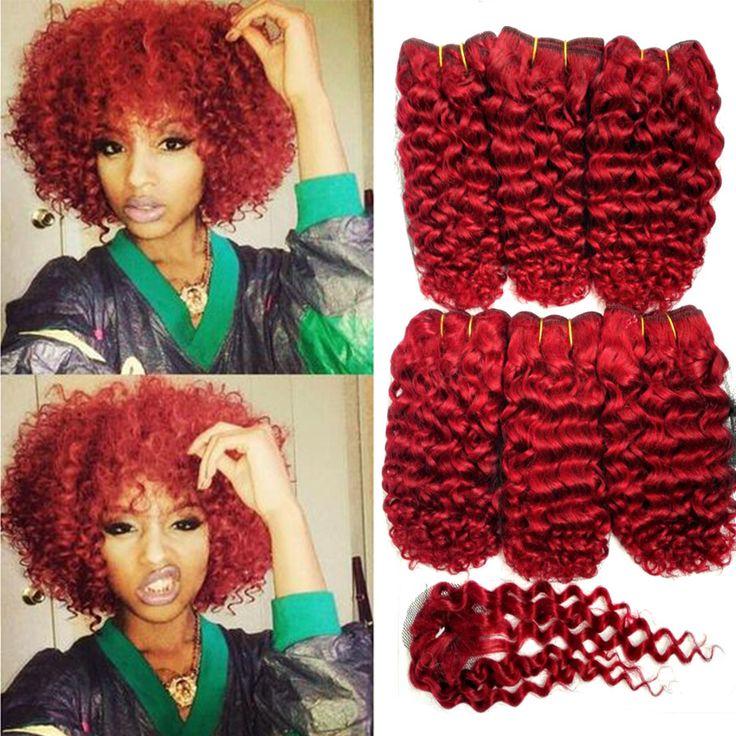 6 UNIDS en Un Paquete 7A Pelo Brasileño Rizado con envío cierre Bresilien Cheveux Avec VirginHair Corto Rizado Rizado Armadura Del Pelo estilo