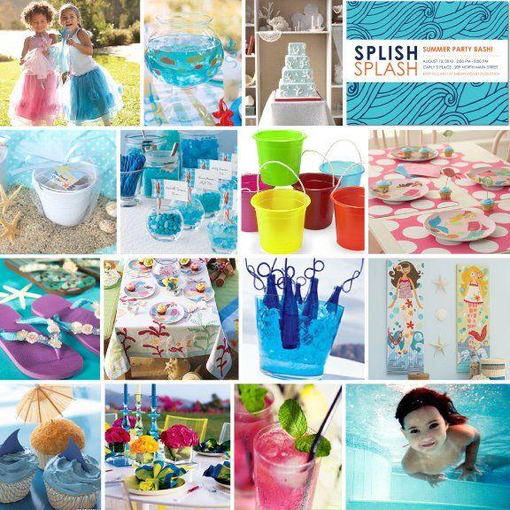 Pool Party ideas: Swim Parties, Water Parties, Birthday Parties, Mermaids Birthday, Summer Parties, Pools Parties, Parties Ideas Kids, Mermaids Parties, Birthday Ideas