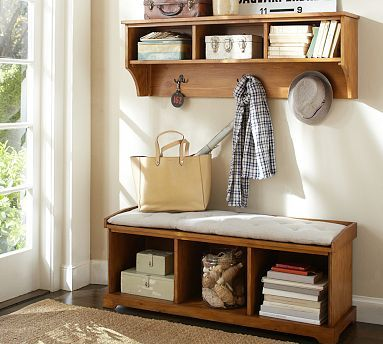 Samantha Entryway Collection #potterybarn in espresso, with both sets of baskets - for when we remove the entrance closet and open up the entrance hallway and front door