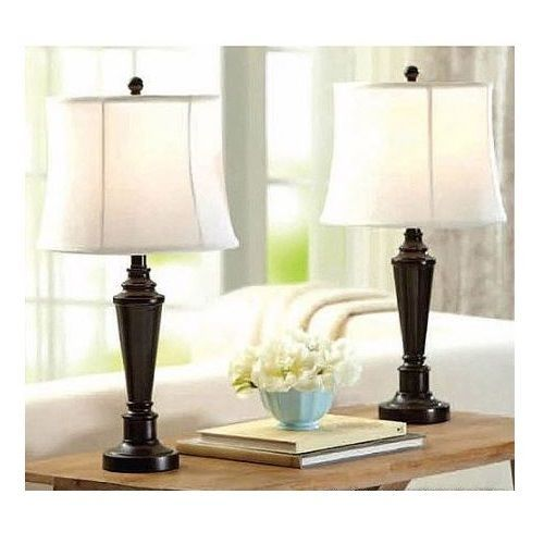 Transitional Table Lamp Set X2 Lights Cream Shade Dark Bronze Accent Bedside New