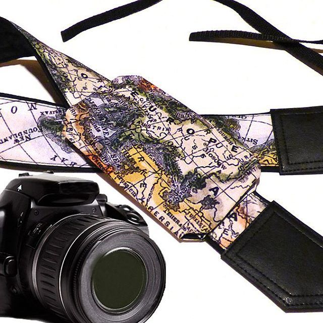 DSLR / SLR Camera Strap with pocket. World Map Camera Strap. Camera accessories. Photographer gift. Map. Europe. $39