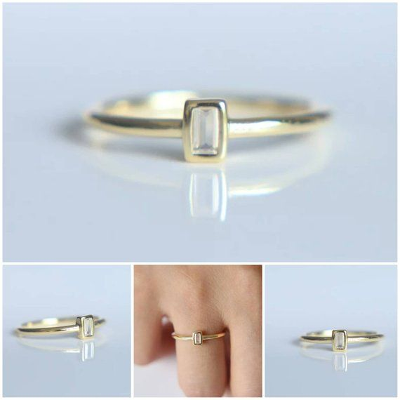 Memorial Ash Minimalist Gold Sterling Silver Baguette Cz Bezel Ring Memorial Ash Jewelrypet Memorial Jewelry Cremation Ring Memorial Jewelry Memorial Jewelry Ashes Sterling