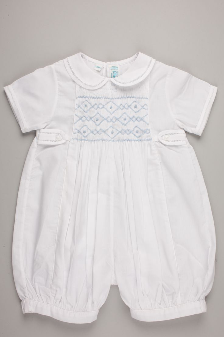 A classic Feltman Brothers romper with butterfly collar and smocking detail is perfect for the spring holidays. http://www.feltmanbrothers.com/boys-smocked-shortall/