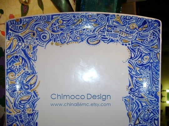 Hand-painted and drawn glass and ceramic pieces by Sydney-based Chimoco Design. www.china86mc.etsy.com #Chimoco Design #gift #request #home decor #platter