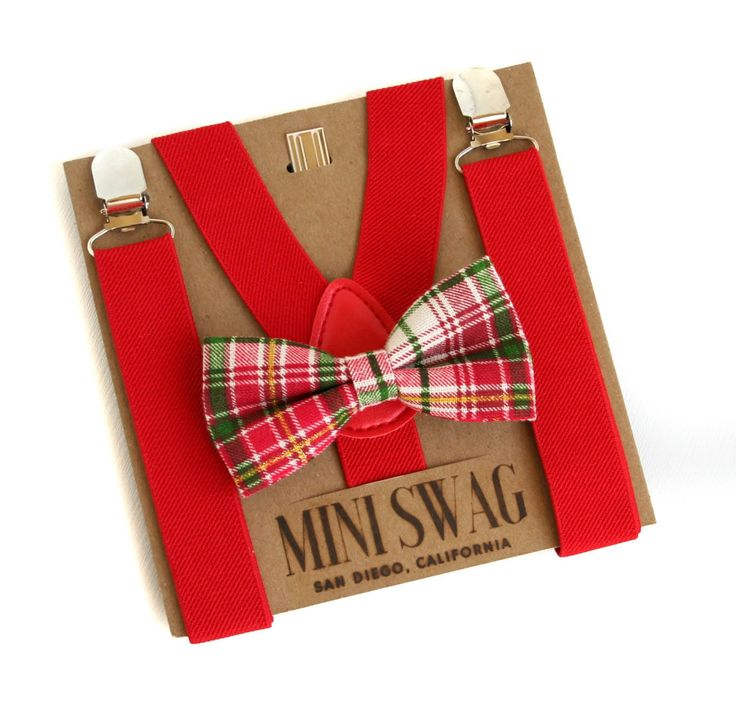 Baby Boy Christmas Bow Tie and Suspenders, Red Plaid Bow Tie, Red Suspenders Toddler, Holiday Outfits for Boy, Christmas Outfit for Kids by MiniSwagTextiles on Etsy