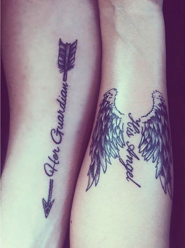 A really cute couple tattoo. The tattoos work with the designs as each design symbolizes how the other partner is to the other partner. A really sweet and heartwarming design.
