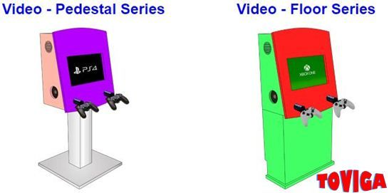 Toviga's handcrafted video game kiosks are both a practical entertainment system to keep visitors and clients occupied in a waiting room or play environment.