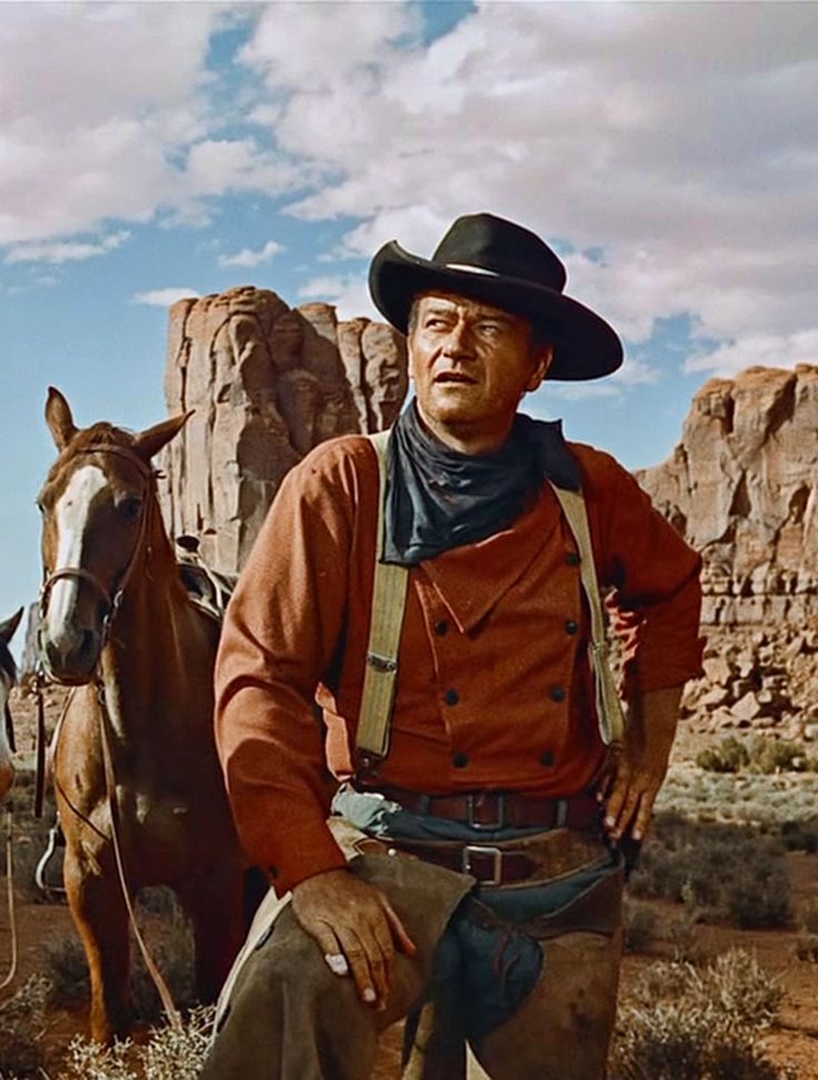 """John Wayne en """"Centauros del Desierto"""", 1956"""