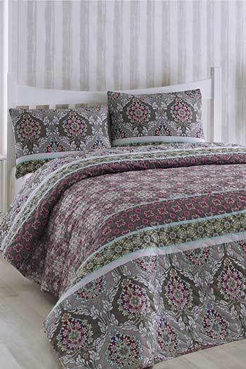 Lila Virágok kétszemélyes steppelt ágytakaró szett