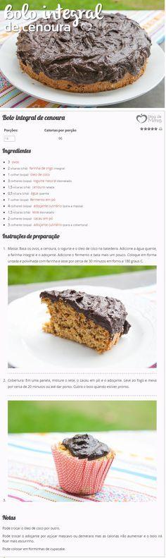Bolo integral de cenoura - Blog da Mimis - Receita magrinha e deliciosa!