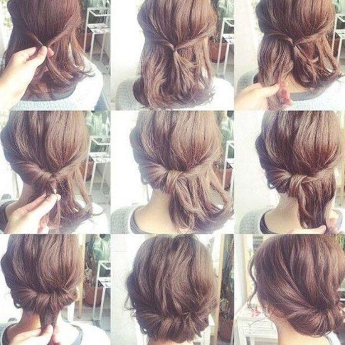 Low Bun For Short Hair Short Hair Tutorial Short Hair Bun Short Hair Styles