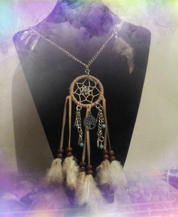 Dreamcatcher chain Boho, dromenvanger halsketting,Ibizastijl dromenvanger ketting, door JuKayDesign op Etsy