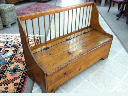 Perfect Primitive Antique Pine Bench With Storage Circa 19th Century.