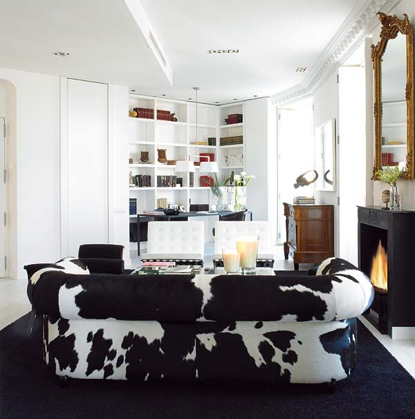 Carlos Serra Valencia Home Black White Living Room Cowhide Couch Barcelona  Chairs Bookshelves