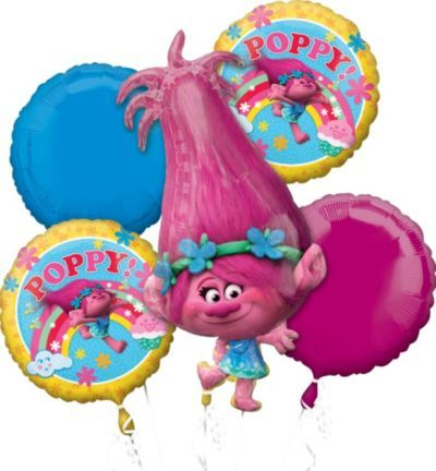 Party it up with Poppy using a Trolls Giant Poppy Balloon Bouquet! This five-piece balloon bouquet includes a giant foil balloon shaped like Poppy, and 4 round balloons.
