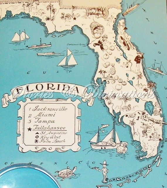 1930s State Picture Maps - Florida - A Fun and Funky Little Vintage Picture Map to Frame