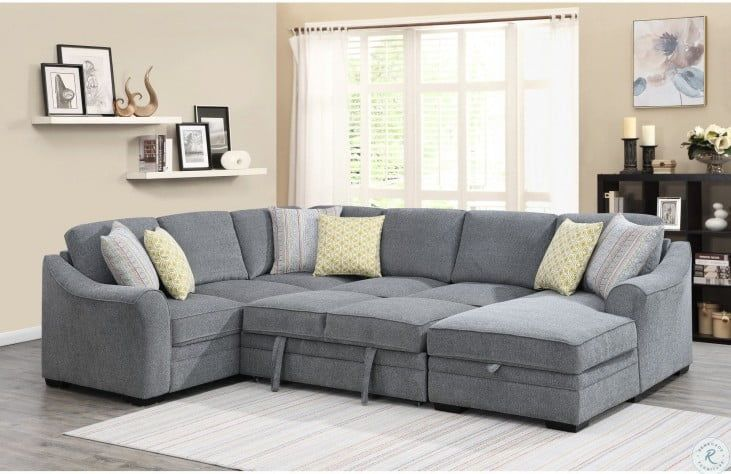 Elle Gray Fold Out Queen Sleeper Raf Sectional In 2020 Formal