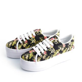 JC PLAY SNEAKERS PLATFORM ZOMG FLORAL BLACK - Oliviero Firenze