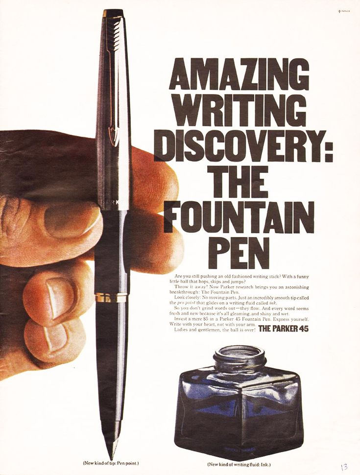Back to School Advertising / Retro Ad of the Week: The Parker 45 Fountain Pen, 1967