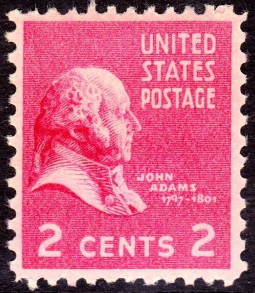 John Adams 1938 Issue-2c -On June 2, 1890 the US Post Office issued a brown 5-cent Postage stamp honoring Ulysses S. Grant. It was the first US Postage stamp to depict the former President and Civil War General. This issue was released exactly twenty-five years after Gen. Edmond Kirby Smith's surrender of the last major Confederate army at Galveston, Texas, on June 2, 1865. The issue was printed by the American Bank Note Company.[43]