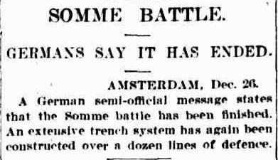 WWi, 26 Dec 1916: Somme battle over according to Germans. -Australia in WW1 (@AustraliaWW1)   Twitter