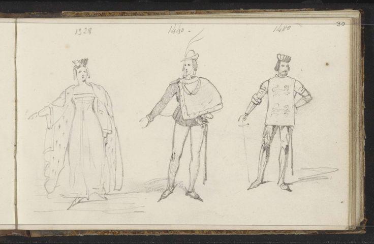 Vrouw en twee mannen in middeleeuws kostuum, Willem Hendrik Schmidt, 1819 - 1849