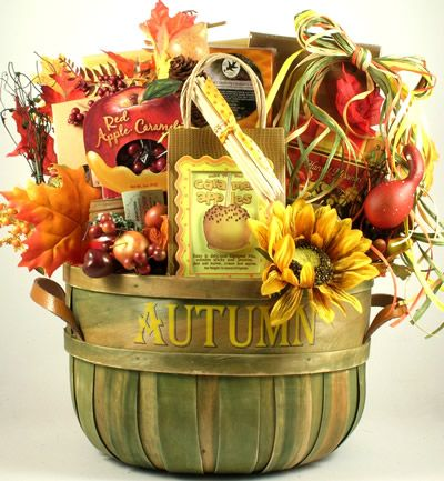 A Taste of Autumn Fall Gift Basket     Our A Taste of Autumn Fall Gift Basket incorporates rich shades of Autumn, which are proudly showcased in this tasteful, over-sized gift basket that comes packed full of delicious gourmet treats and sweets that will treat them to a very special taste of Autumn!     $152.99 http://www.littlegiftbasketboutique.com/item_888/A-Taste-of-Autumn-Fall-Gift-Basket.htm
