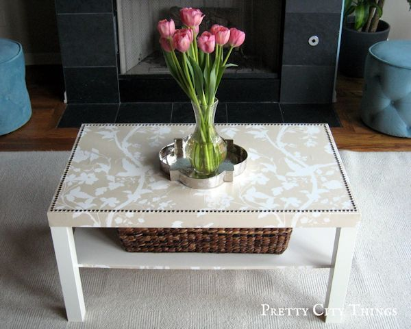 Ikea coffee table makeover with wallpaper and nailheads from Pretty City Things