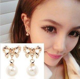 female bowknot simulated pearl ear clips,women no piercing earring Non pierced earrings female painless ear clip earrings