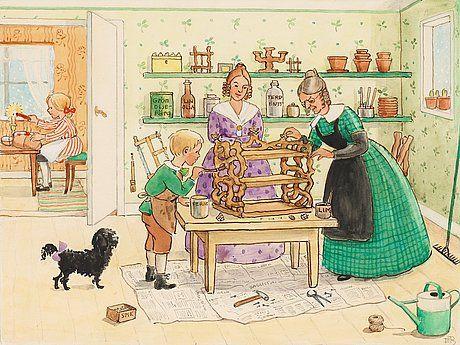 ELSA BESKOW, Tant Grön och Petter tillverkar en bokhylla i julklapp åt Farbror Blå