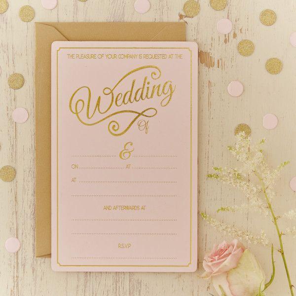 Invitez vos proches à votre grand jour avec ces magnifiques faire-partsrose pastel et or.