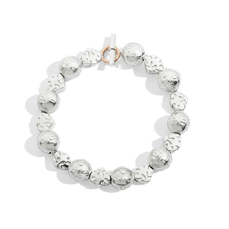 bracciale etnico, foglioline, palline tibetane, beads, argento, queriot, civita
