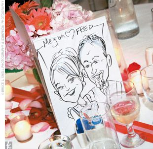 Amy and Kevin hired two caricature artists to sketch each guest for fun, personalized favors, which made for a memorable final touch to their elegant wedding.