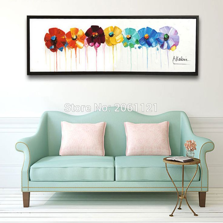 Hand Painted Large Long Wall Oil Paintings Modern Abstract Floral Canvas  Art Painting On White Canvas Part 27