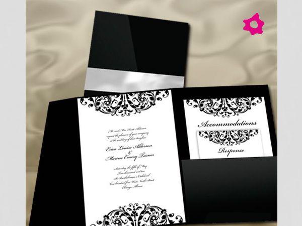 Convite de casamento branco e preto
