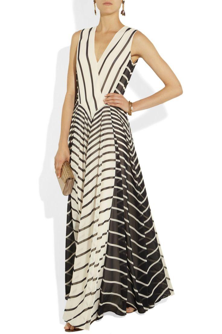 Halston Heritage|Striped georgette gown|NET-A-PORTER